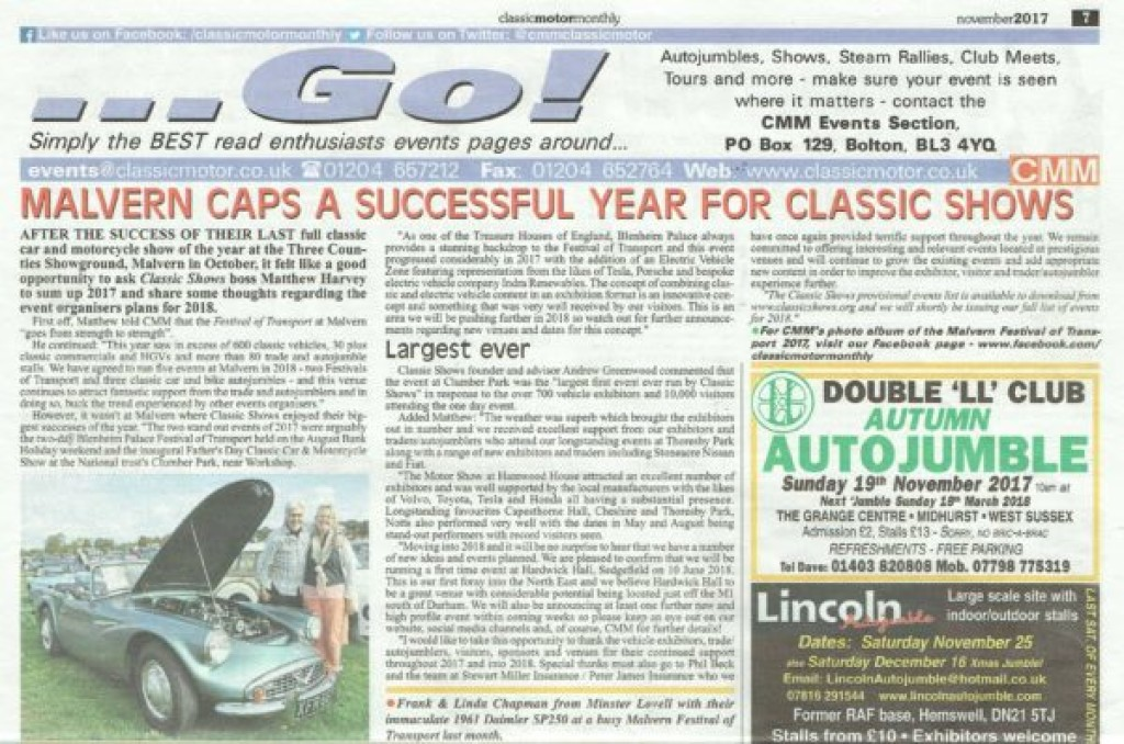 Classic Shows End of Year Summary in Classic Motor Monthly November Issue